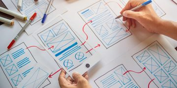 wireframe drawings of website