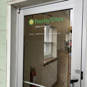 FreshySites lobby door in Chicago, IL office